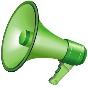 green loud speaker