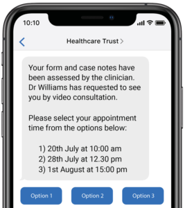 A digital triage eForm displayed on a mobile phone screen
