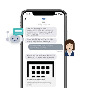 Virtual assistant chatbot conversation with a patient displayed on a mobile phone